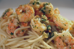 Garlic Prawns and Pasta